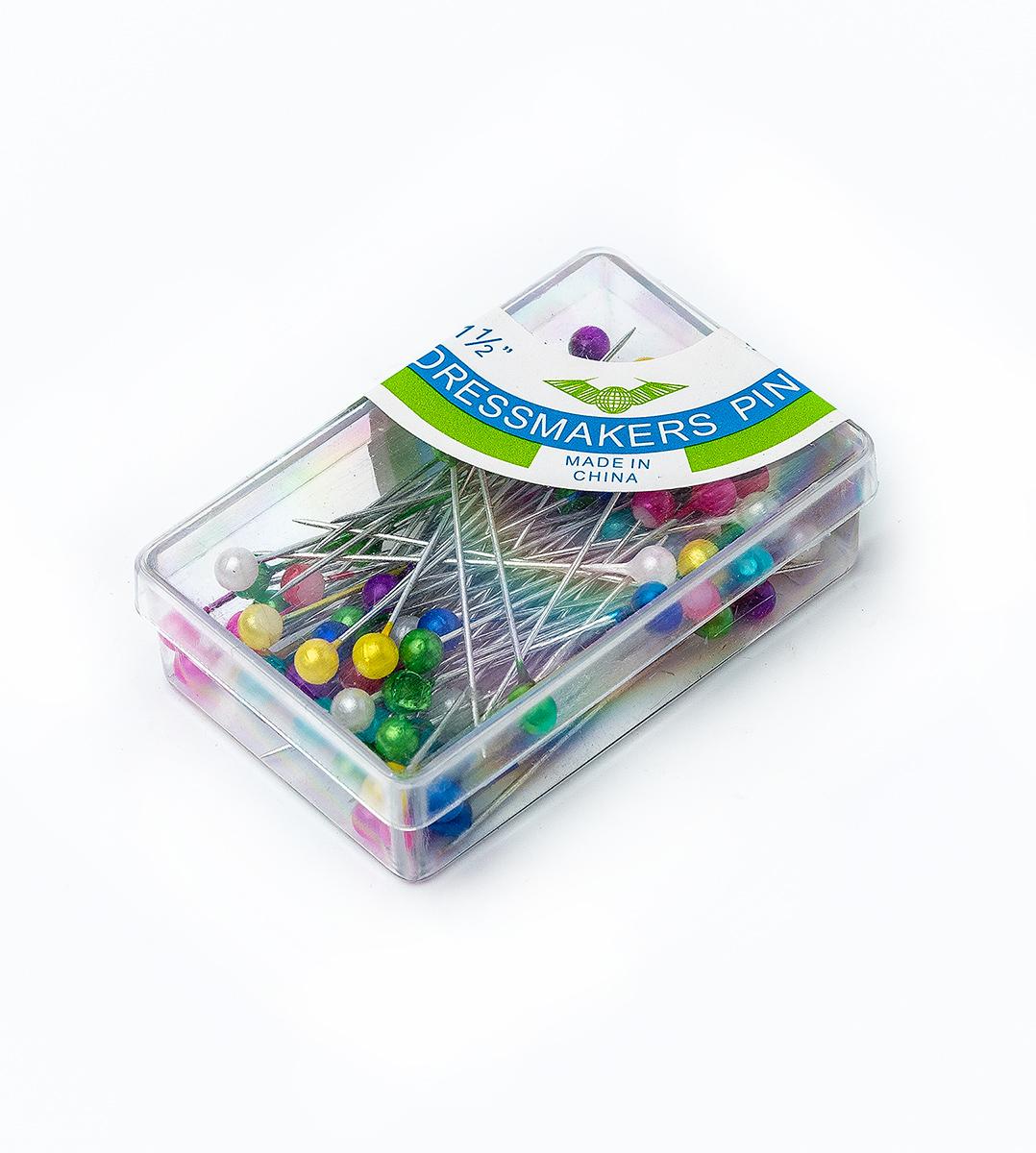 Булавки с бусинками цветные в пластиковой коробке с