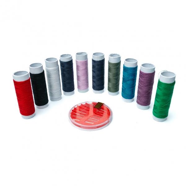 Нитки швейные разноцветные 10шт с набором иголок с