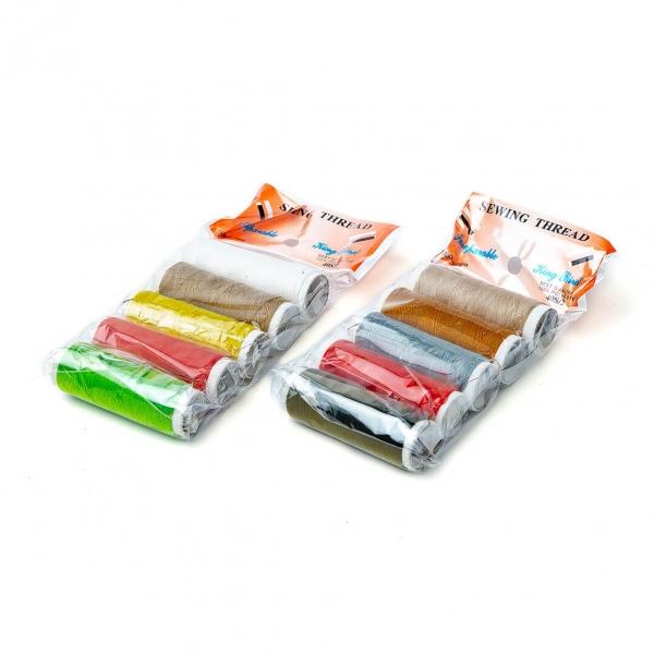 Нитки швейные разноцветные 5шт с