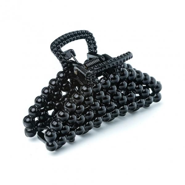 Крабик для волос Жемчужина черный с