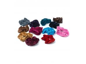 Резинка для волосся велюрова кольорова зі стразами с
