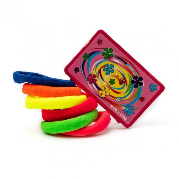 Резинки для волос цветные набор 6шт с
