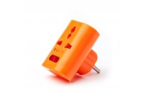 Тройной переходник пластм оранж с