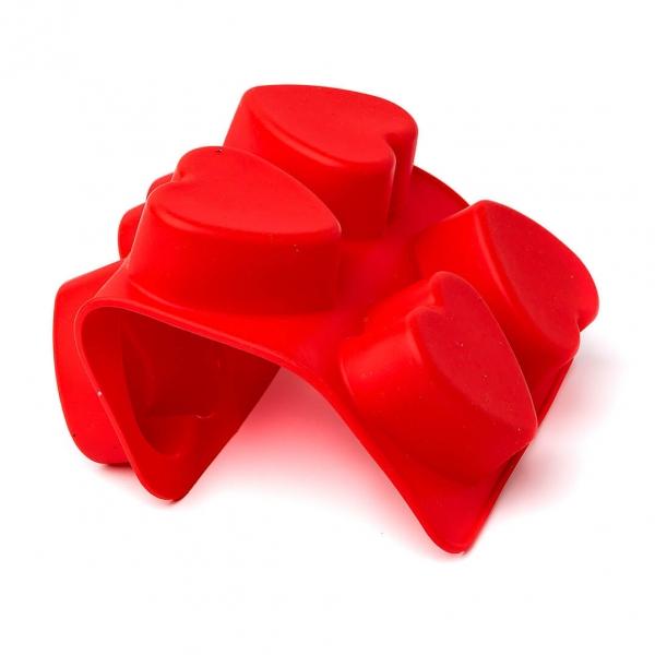 Форма для кекса силикон сердце 6форм 26х18х3 с