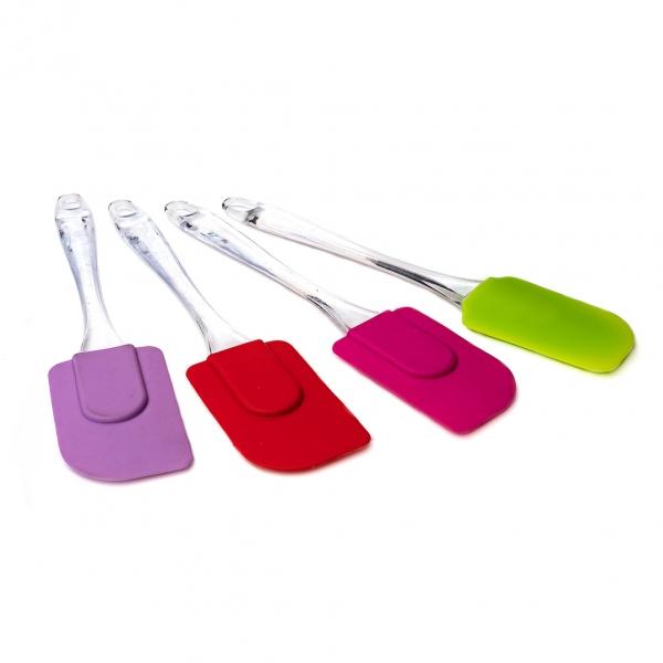 Лопатка кухонная силиконовая с прозрачной ручкой большая с