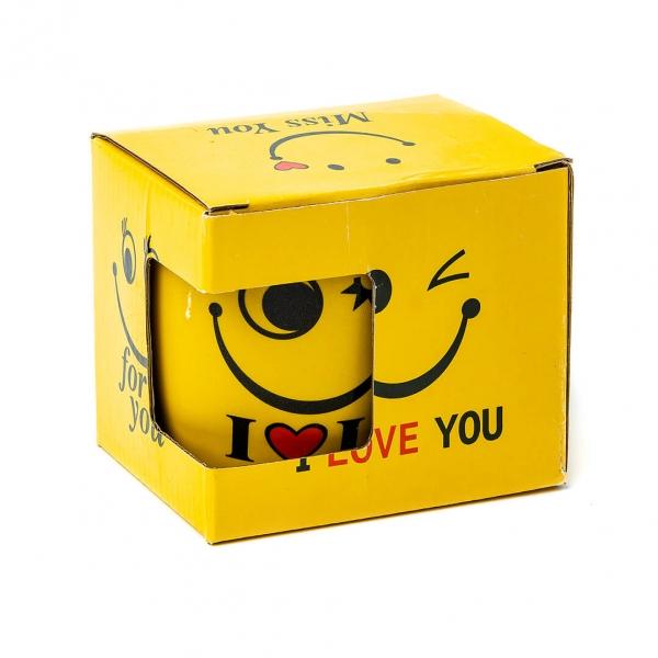 Чашка керамическая 300мл Сма́йлик в коробке 30766 с
