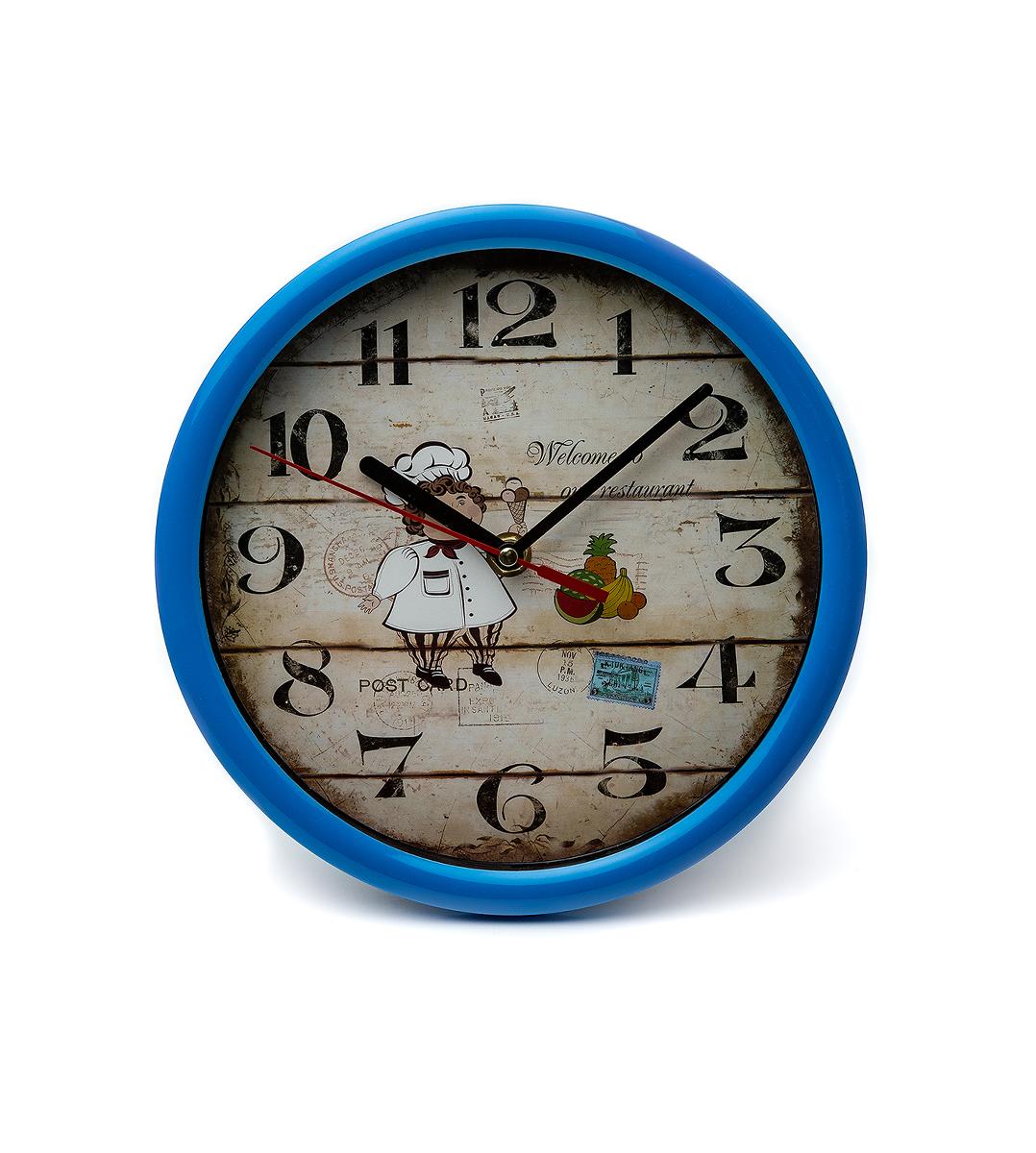 Часы настенные 21.5см повар круглые с