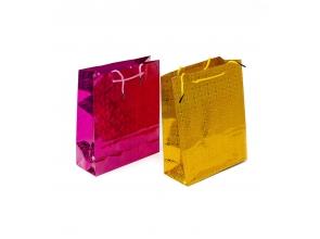 Пакет подарочный бум 14х11х6,5см цвет фольга с