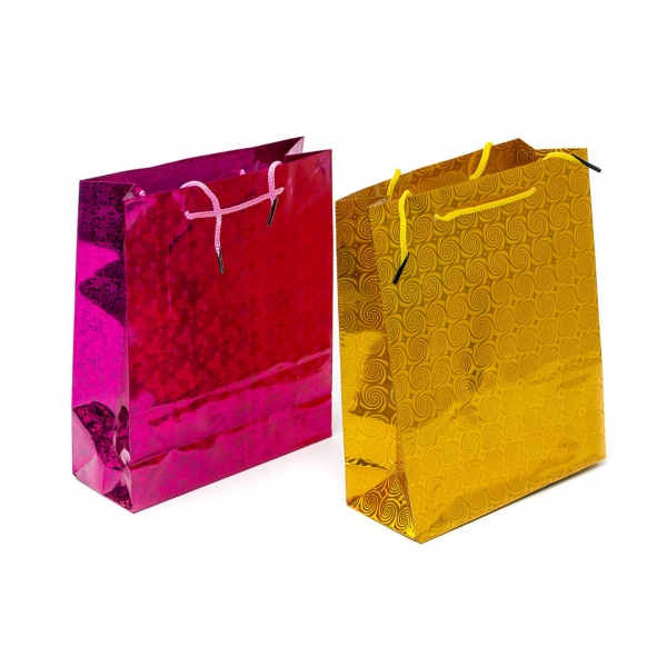 Пакет подарочный бум 34х12х8.5см цвет фольга с