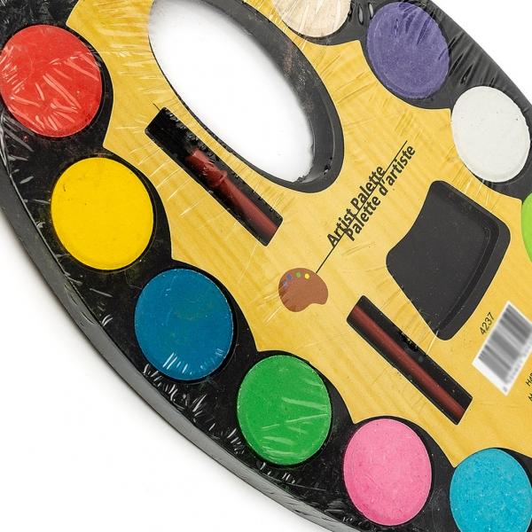 Краски акварельные Палитра сухая 12цветов пластик с