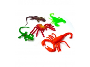 Игрушка насекомые рептилии резиновые mix с