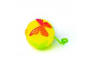 Мяч массажный мигающий на резинке mix с