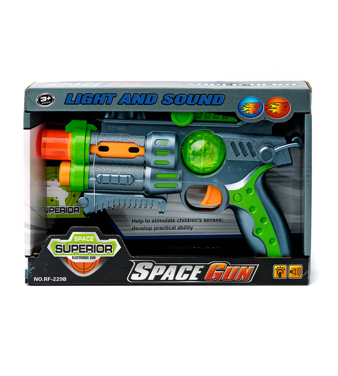 Іграшковий Пістолет зі звуком та світлом в коробці с