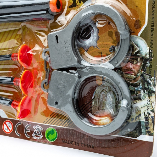 Набор полицейского пистолет наручники на планшете 3565с