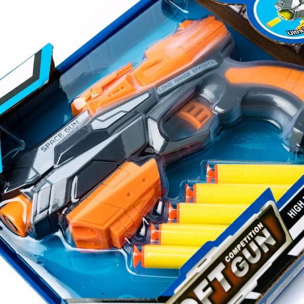 Пистолет на пенных пульках 5шт в коробке с