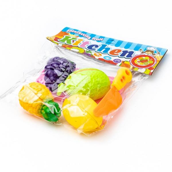 Игровой набор Овощи и фрукты на липучках в пакете с