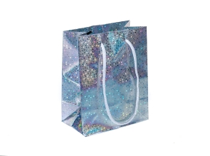 Пакет подарочный бум 14х11х6,5см голограмма с